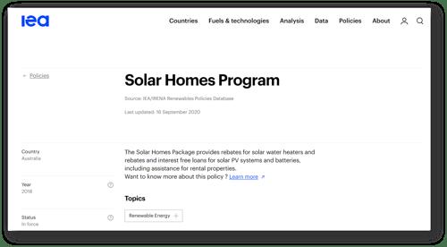 IEA_Renewables Policy Database_Australia Solar Homes Program