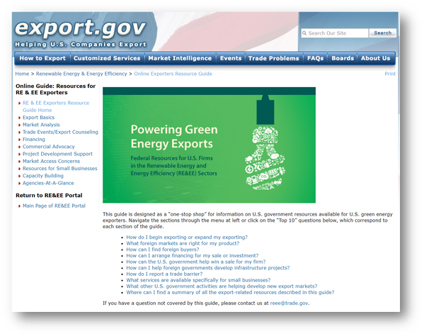 REEE Portal on Export.Gov