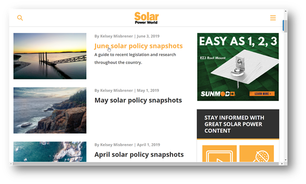 Solar Power World_Solar Policy Snapshots