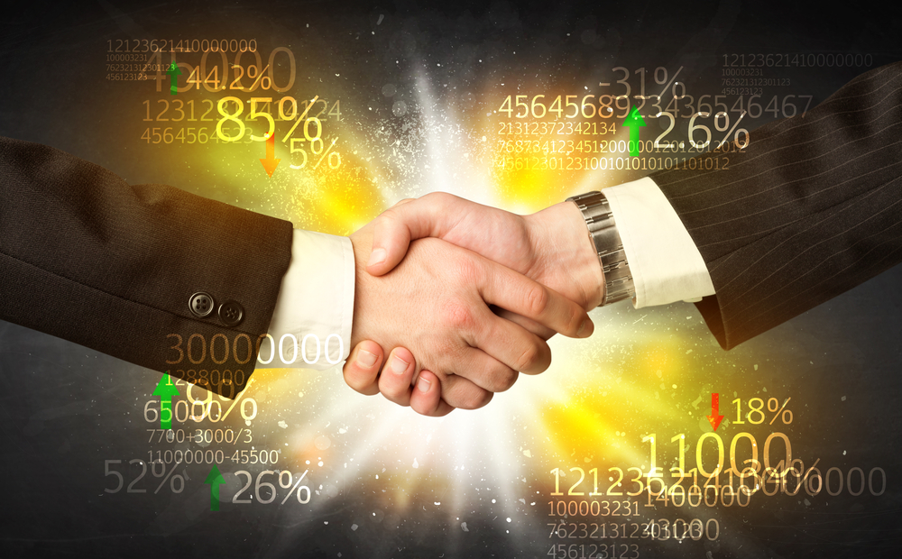 Business Handshake with number analysis